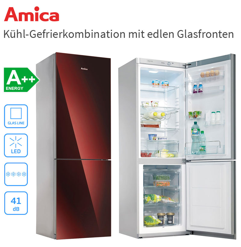amica kgc15532 rg a glasfront k hl gefrierkombination bordeaux rot k hlschrank ebay. Black Bedroom Furniture Sets. Home Design Ideas