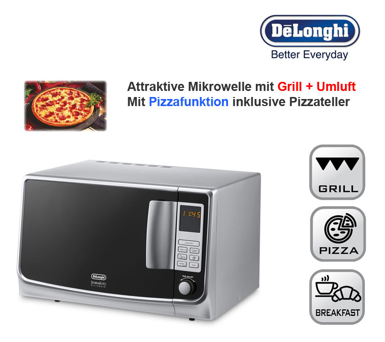 delonghi 30 liter xl mikrowelle silber mit grill umluft und pizza funktion neu ebay. Black Bedroom Furniture Sets. Home Design Ideas