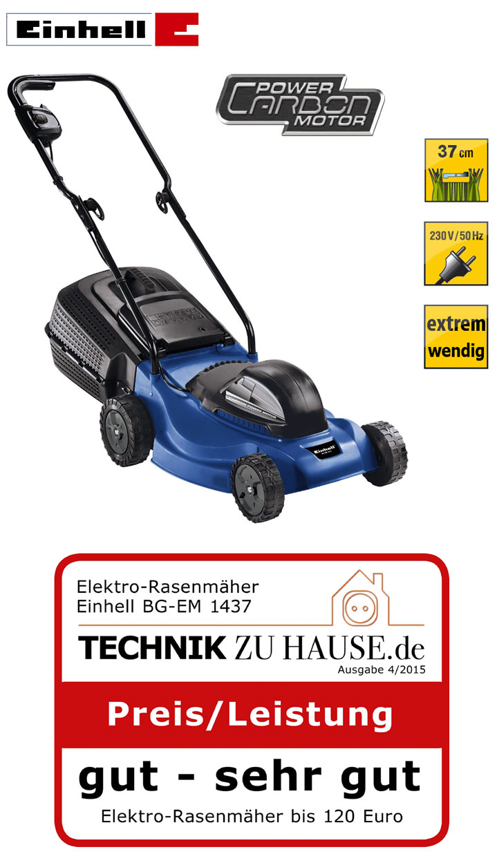 einhell bg em 1437 elektro rasenm her 37 cm highwheeler 36 liter sichelm her neu. Black Bedroom Furniture Sets. Home Design Ideas