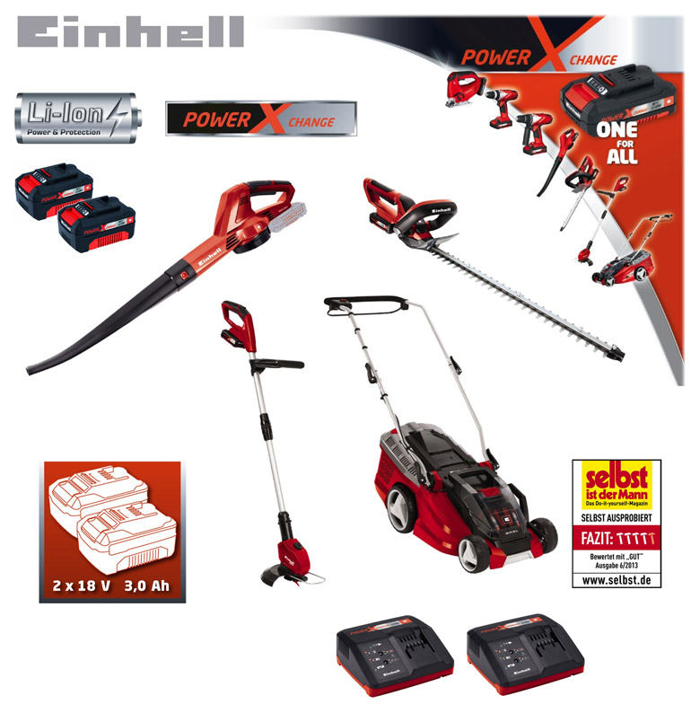 einhell 18 volt li ion akku set rasenm her heckenschere rasentrimmer laubbl ser ebay. Black Bedroom Furniture Sets. Home Design Ideas