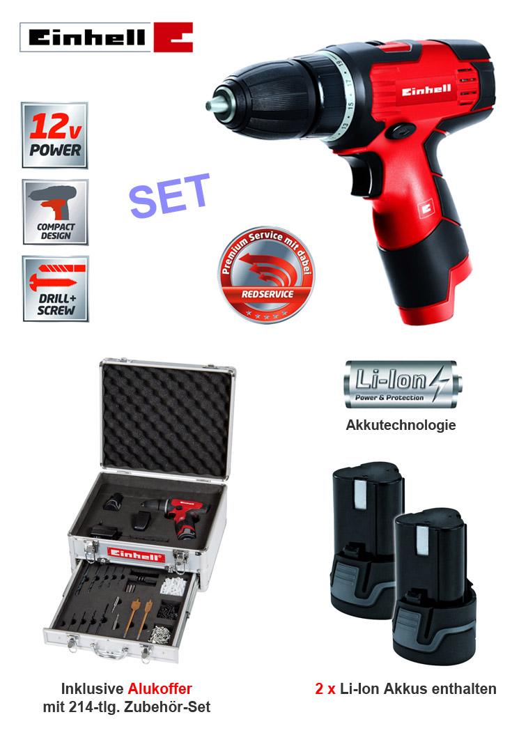 einhell 12 volt li ionen akku bohr schrauber set inkl 2 akkus bohrmaschine neu ebay. Black Bedroom Furniture Sets. Home Design Ideas