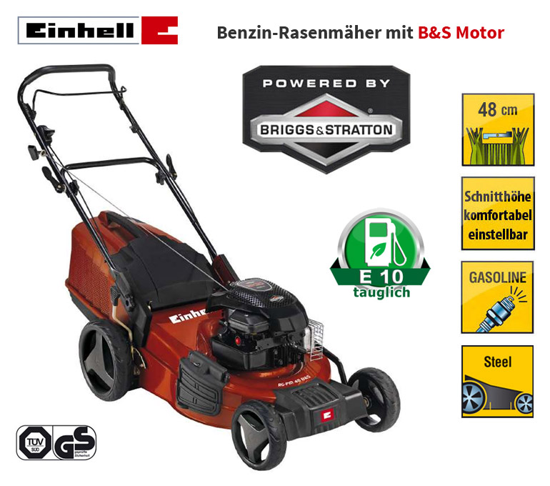 einhell rg pm48 b s briggs stratton benzin rasenm her mulchkit seitenauswurf ebay. Black Bedroom Furniture Sets. Home Design Ideas