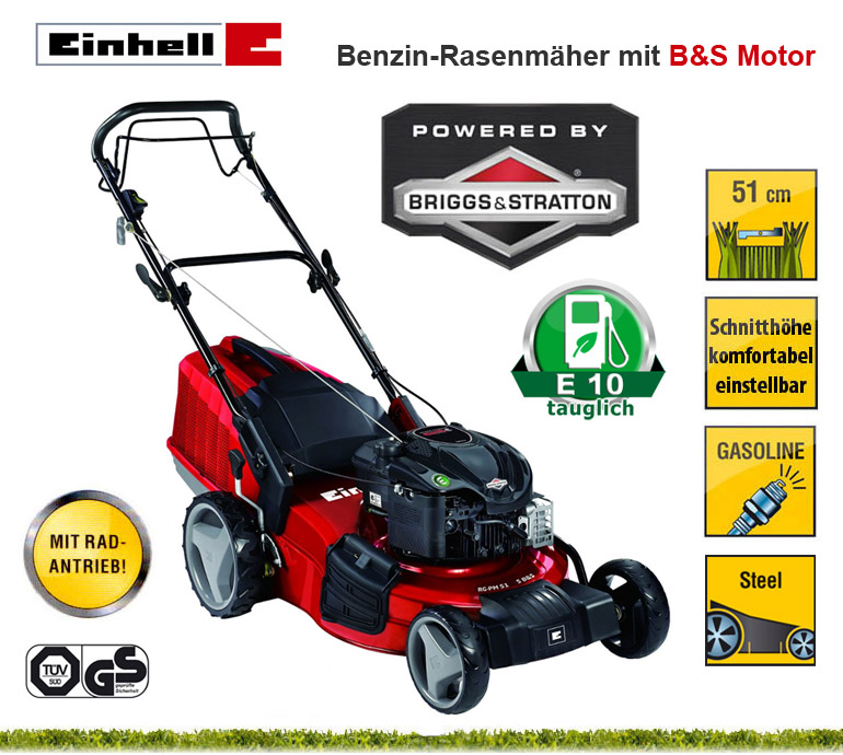 einhell rg pm 51 1 s b s 51 cm benzin motor rasenm her rad antrieb selbstfahrer ebay. Black Bedroom Furniture Sets. Home Design Ideas