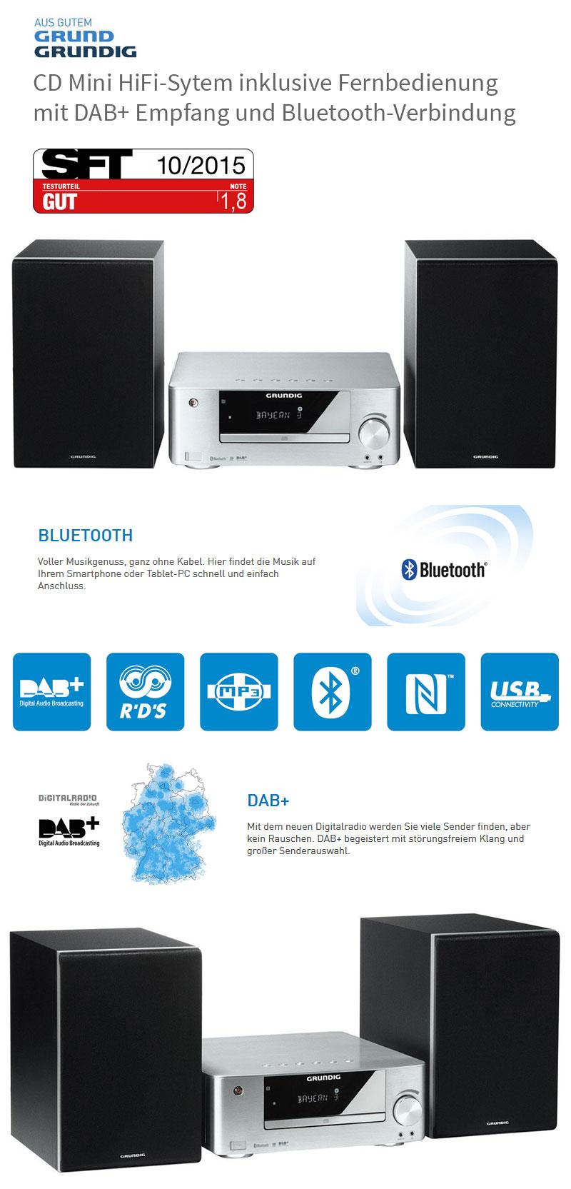 grundig m 2300 dab mini design stereo anlage hifi system. Black Bedroom Furniture Sets. Home Design Ideas