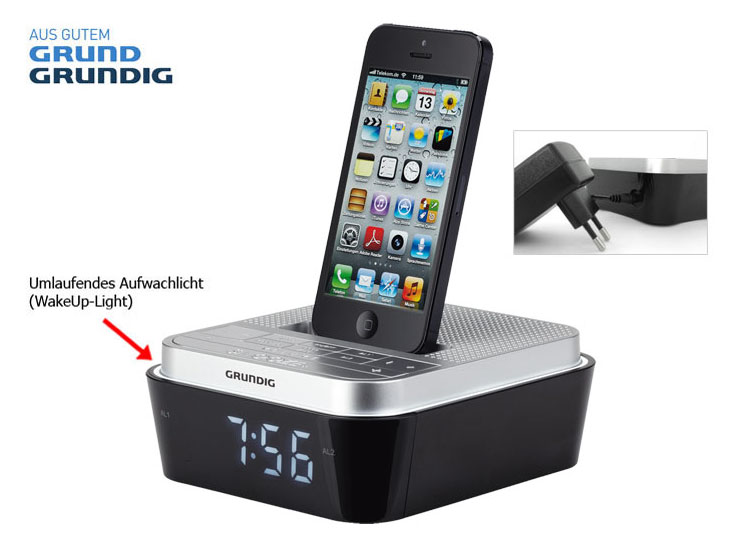 grundig ukw uhren radio iphone 5 docking station ladeger t ladekabel stand dock ebay. Black Bedroom Furniture Sets. Home Design Ideas