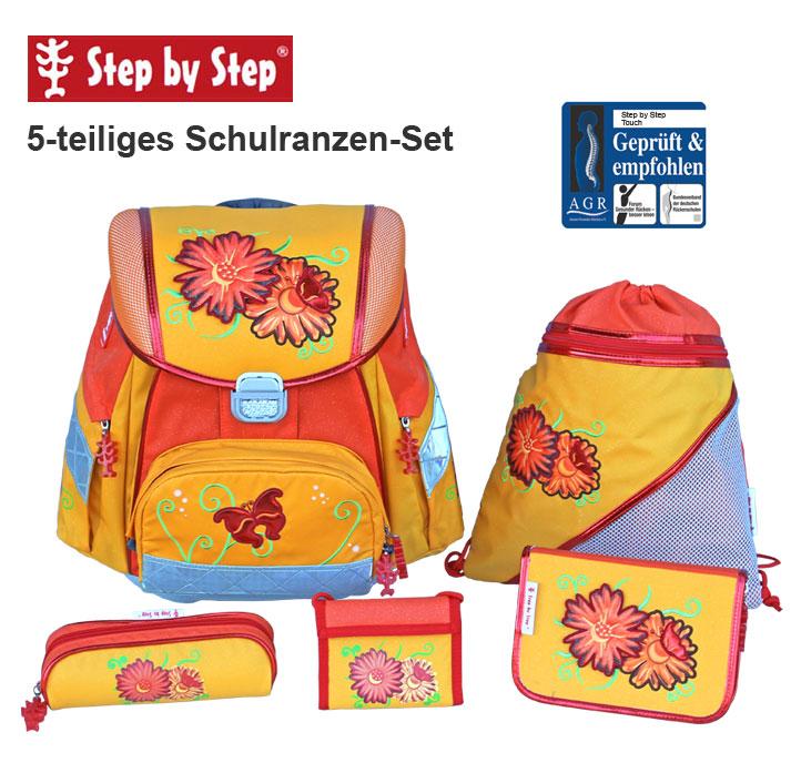 step by step schulranzen set sunny flowers 5 tlg. Black Bedroom Furniture Sets. Home Design Ideas