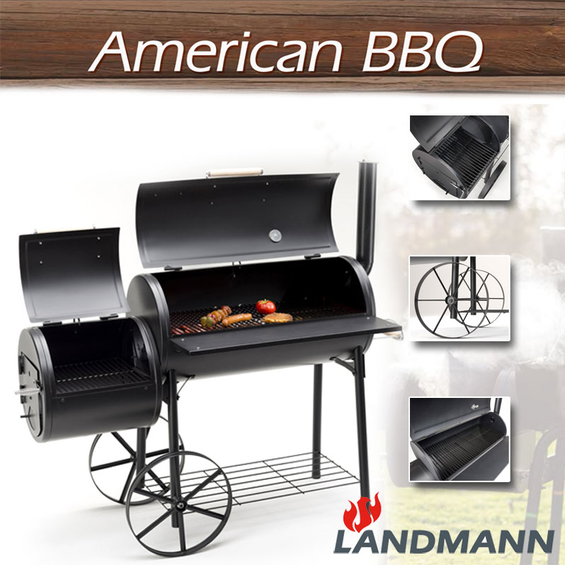 landmann xxl grill lok smoker bbq holzkohle grill r ucherofen grill wagen neu. Black Bedroom Furniture Sets. Home Design Ideas