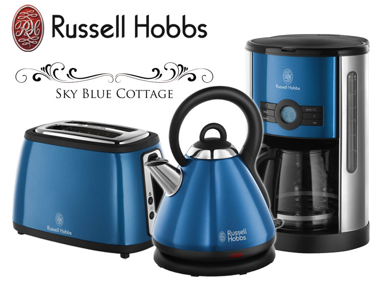 russell hobbs fr hst ck set kaffeemaschine wasserkocher toaster edelstahl blau ebay. Black Bedroom Furniture Sets. Home Design Ideas