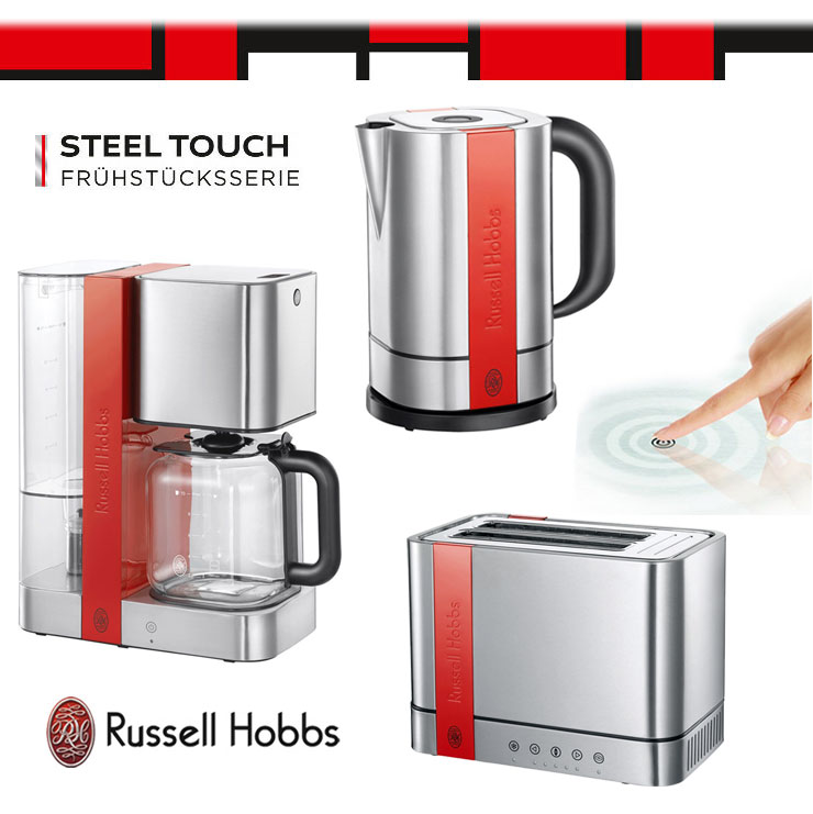 russell hobbs edelstahl rot touch set kaffeemaschine. Black Bedroom Furniture Sets. Home Design Ideas