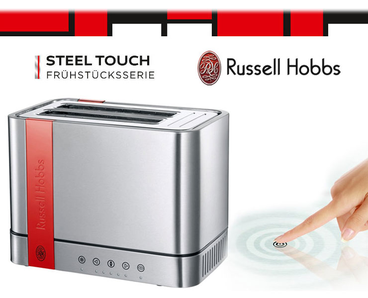 russell hobbs design toaster edelstahl rot 2 schlitz toaster bagel funktion neu ebay. Black Bedroom Furniture Sets. Home Design Ideas