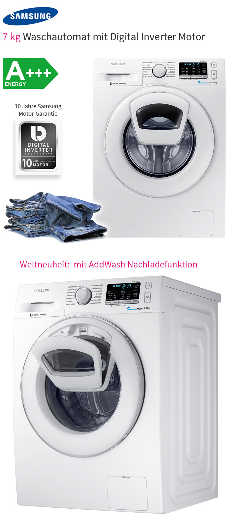 samsung add wash waschmaschine a nachlade funktion schaum aktiv frontlader ebay. Black Bedroom Furniture Sets. Home Design Ideas