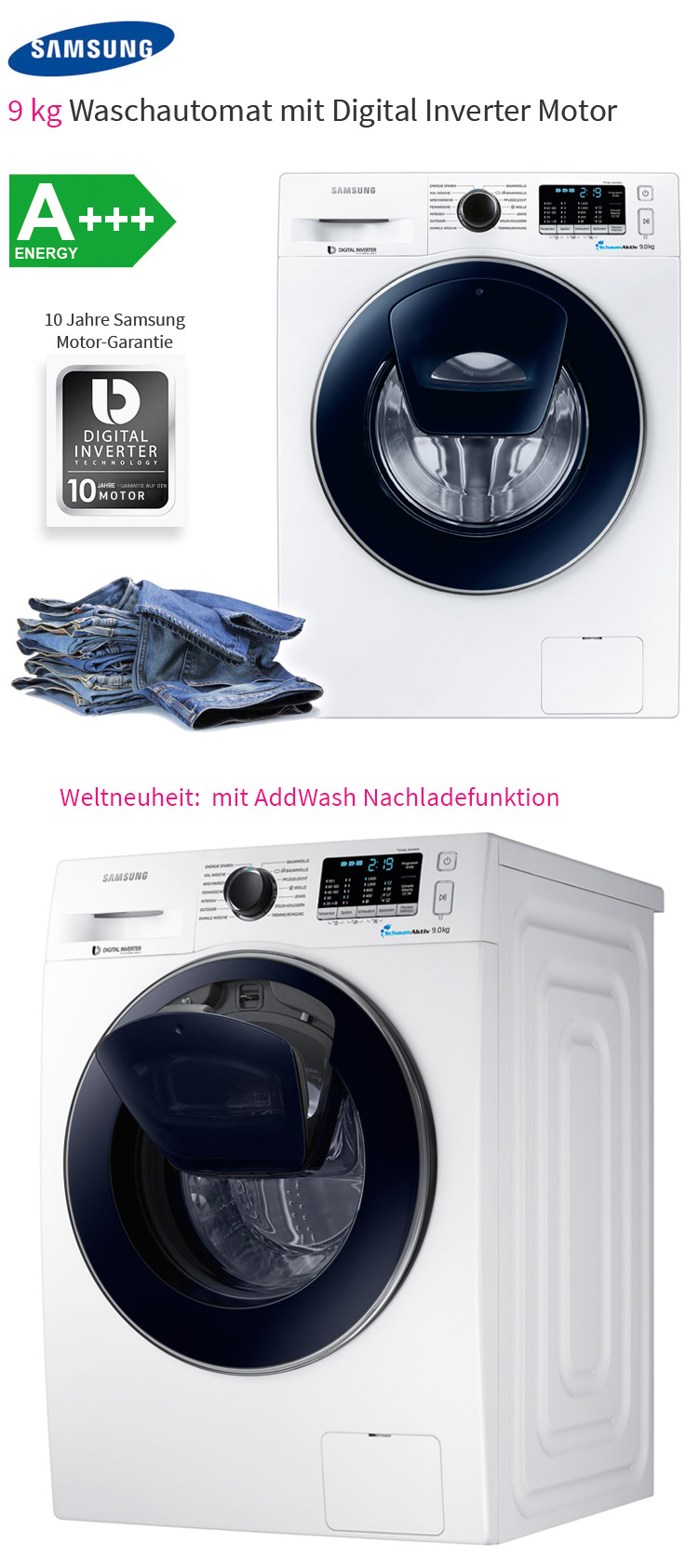 samsung 9 kg addwash waschmaschine a nachlade funktion schaumaktiv frontlader ebay. Black Bedroom Furniture Sets. Home Design Ideas