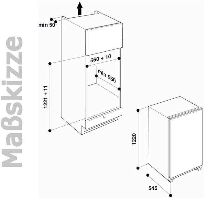 bauknecht 122 cm einbau k hlschrank gefrierfach a integrierbar leise nur 36 db ebay. Black Bedroom Furniture Sets. Home Design Ideas