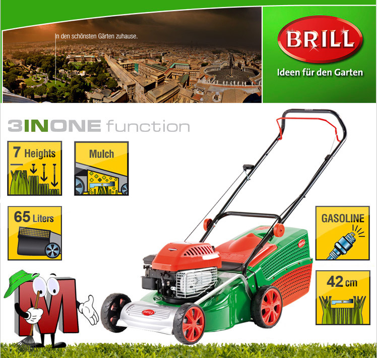 brill 42 cm benzin rasenm her mulchfunktion briggs stratton motor highwheeler ebay. Black Bedroom Furniture Sets. Home Design Ideas