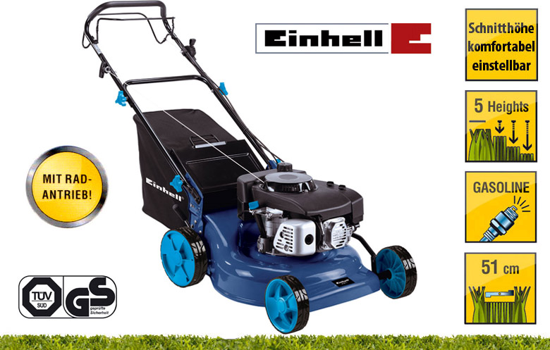einhell 6ps ohv motor benzin rasenm her 51cm radantrieb ebay. Black Bedroom Furniture Sets. Home Design Ideas