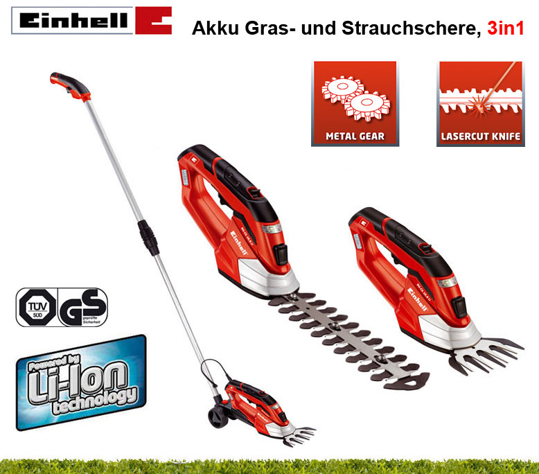 einhell 3in1 akku lithium ionen gras strauch messer. Black Bedroom Furniture Sets. Home Design Ideas