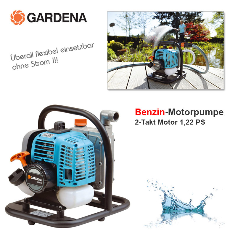 gardena 9000 3 benzin motor wasser pumpe gartenpumpe camping ohne strom neu ovp ebay. Black Bedroom Furniture Sets. Home Design Ideas