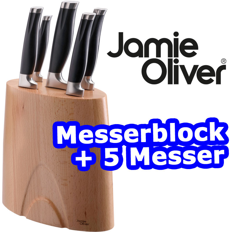 jamie oliver holz messerblock inkl 5 k chenmesser kochmesser messer set neu ebay. Black Bedroom Furniture Sets. Home Design Ideas