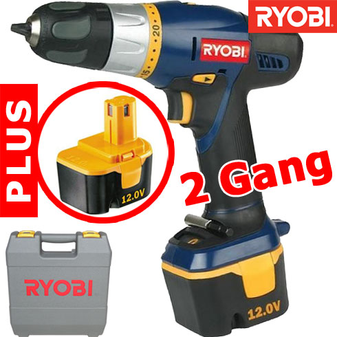 ryobi 2 gang 12 volt akku schrauber 2 akkus koffer bohrschrauber bohrmaschine ebay. Black Bedroom Furniture Sets. Home Design Ideas