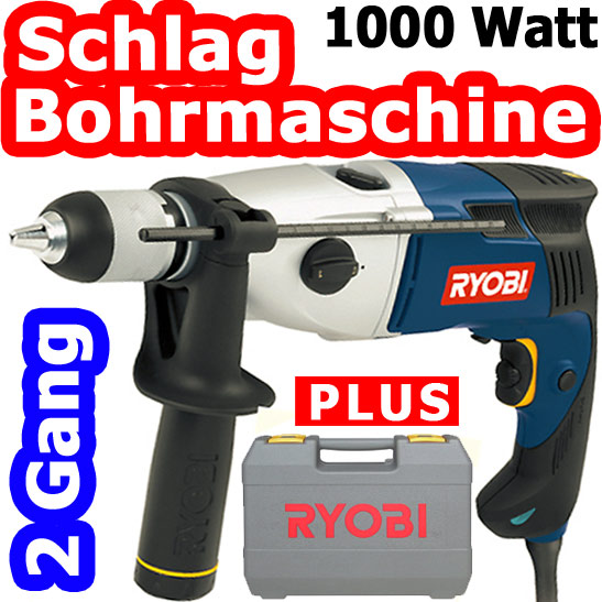 ryobi eid 1002 re schlag bohrmaschine im koffer 2 g nge 1000 watt bohrhammer neu ebay. Black Bedroom Furniture Sets. Home Design Ideas