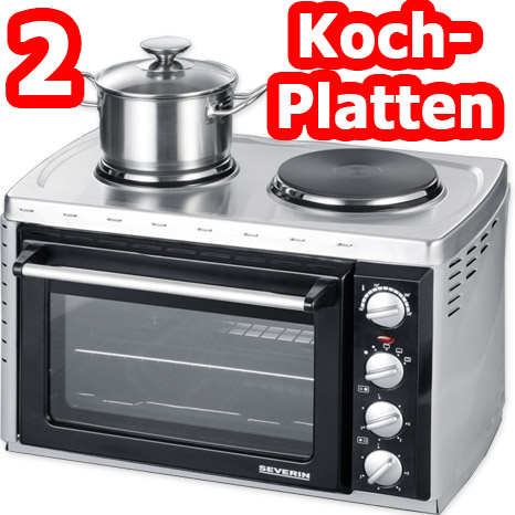 severin mini backofen mit 2 kochplatten kleink che ofen toastofen 26 liter neu ebay. Black Bedroom Furniture Sets. Home Design Ideas