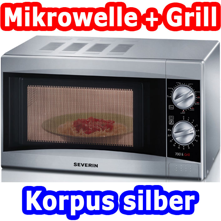 severin mw 7863 mikrowelle mit grill funktion silber microwelle 17 liter mikro ebay. Black Bedroom Furniture Sets. Home Design Ideas