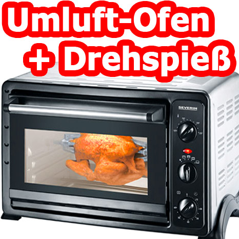 severin mini backofen umluft ober unterhitze drehspie herd 28 liter neu ovp ebay. Black Bedroom Furniture Sets. Home Design Ideas