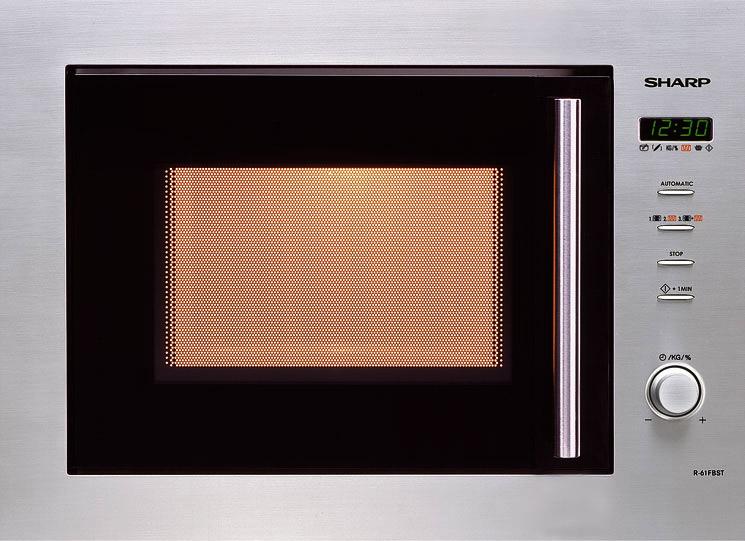 sharp r 61 fbst edelstahl einbau mikrowelle grill digital display 50 cm neu ebay. Black Bedroom Furniture Sets. Home Design Ideas