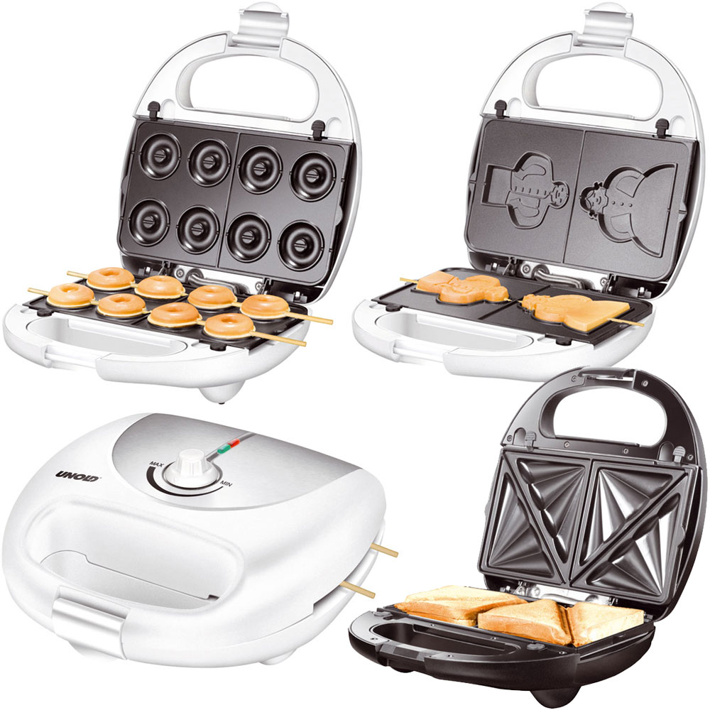 unold 3in1 donutmaker waffeleisen sandwichmaker multi snack sandwichtoaster wow ebay. Black Bedroom Furniture Sets. Home Design Ideas