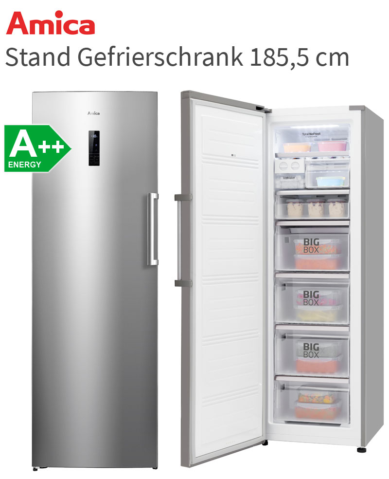 amica no frost stand gefrierschrank a edelstahl optik gefrier ger t 260 liter ebay. Black Bedroom Furniture Sets. Home Design Ideas