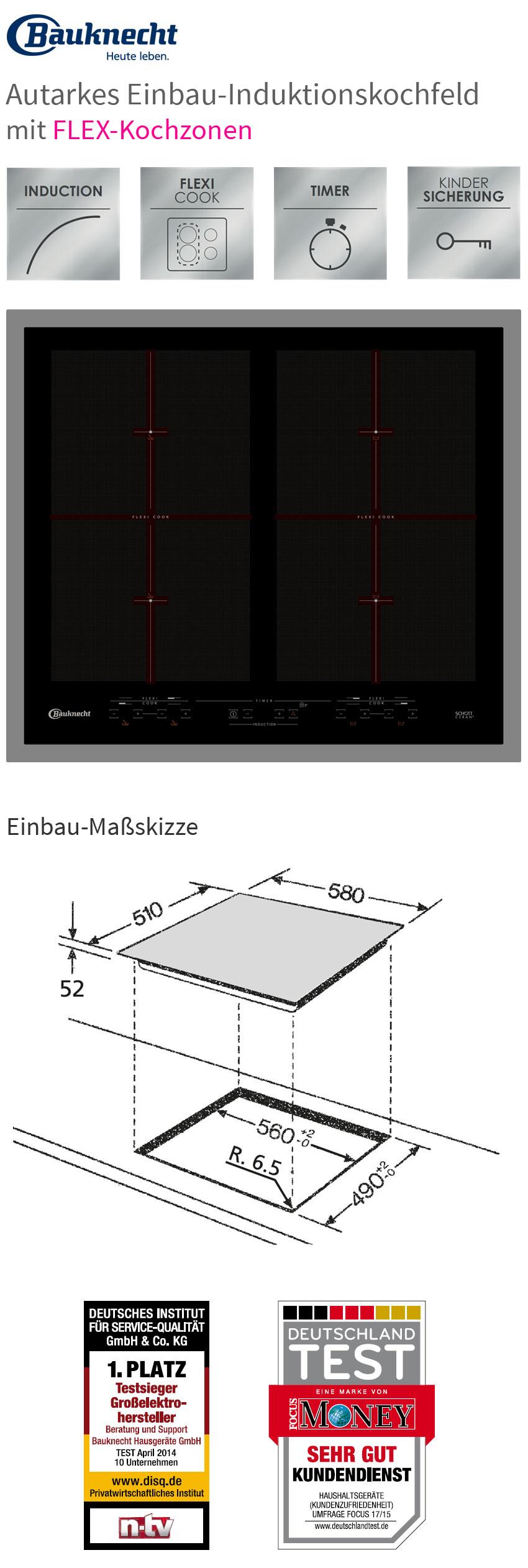 bauknecht esiff7640in flex induktionskochfeld edelstahlrahmen einbau kochfeld ebay. Black Bedroom Furniture Sets. Home Design Ideas