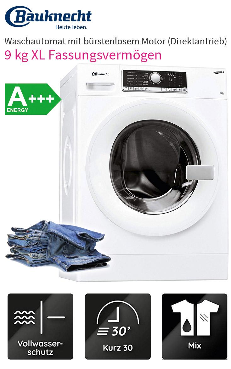 bauknecht a 9 kg direktantrieb waschmaschine frontlader waschvollautomat eco ebay. Black Bedroom Furniture Sets. Home Design Ideas
