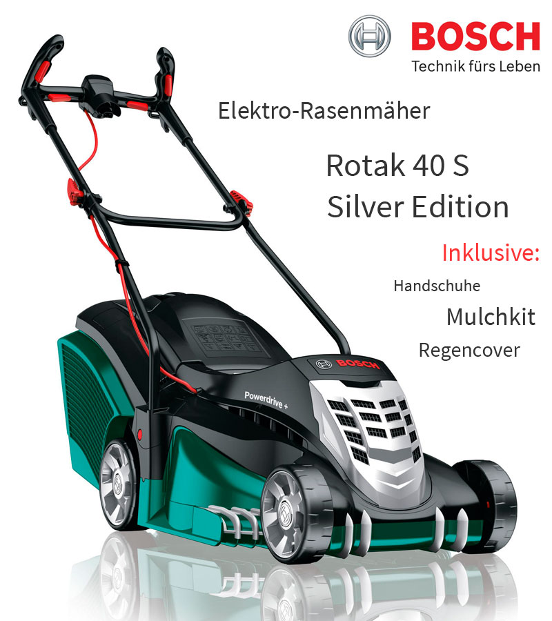 bosch rotak 40 silver edition 1700 w elektro rasenm her set regencover mulchkit ebay. Black Bedroom Furniture Sets. Home Design Ideas