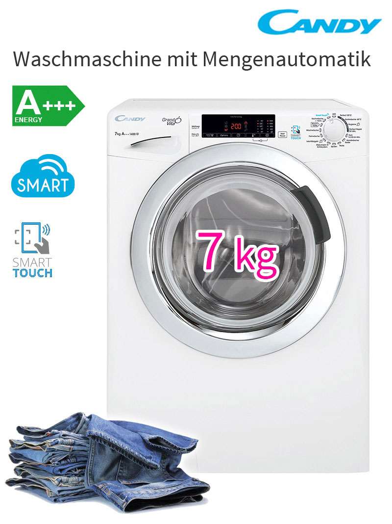 candy a waschmaschine 1400 u min waschautomat 7 kg mit touch display nfc neu ebay. Black Bedroom Furniture Sets. Home Design Ideas