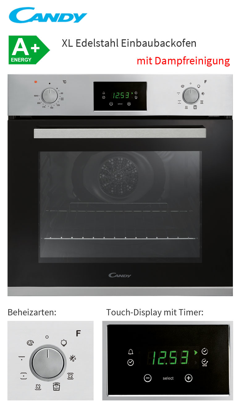 candy edelstahl einbau backofen 65 l multifunktion autark umluft touch display ebay. Black Bedroom Furniture Sets. Home Design Ideas
