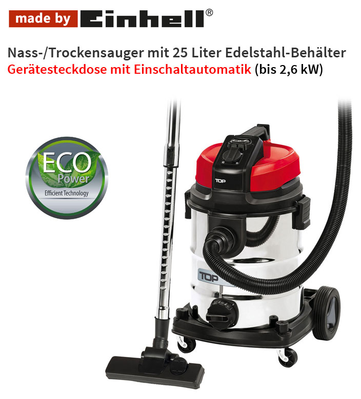 nass trockensauger staubsauger automatik ger te steckdose 25 l made by einhell ebay. Black Bedroom Furniture Sets. Home Design Ideas