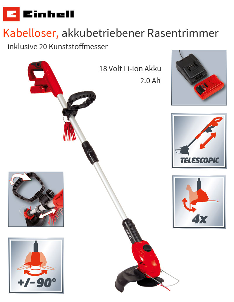 einhell gc ct 18 li akku rasentrimmer 18 volt 2ah freischneider kantenschneider ebay. Black Bedroom Furniture Sets. Home Design Ideas