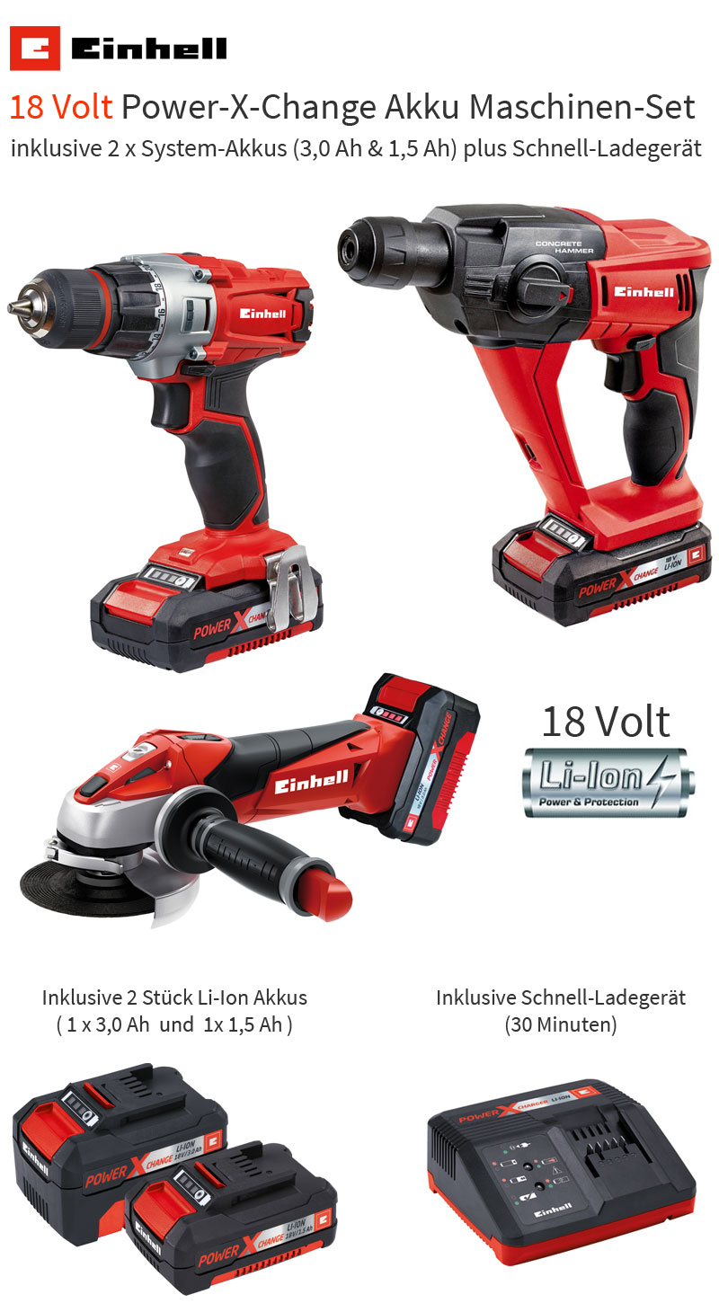 einhell 18 volt power x change werkzeug akkuschrauber winkelschleifer bohrhammer ebay. Black Bedroom Furniture Sets. Home Design Ideas