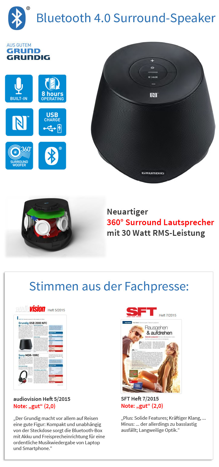 Grundig GSB 2000 Bluetooth 4 NFC Surround Lautsprecher tragbar Speaker Subwoofer