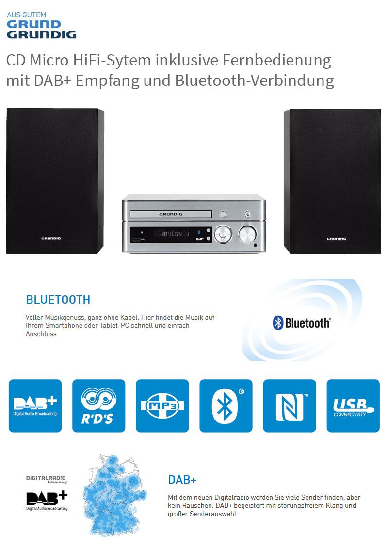 grundig dab plus mini stereo anlage aluminium hifi system. Black Bedroom Furniture Sets. Home Design Ideas