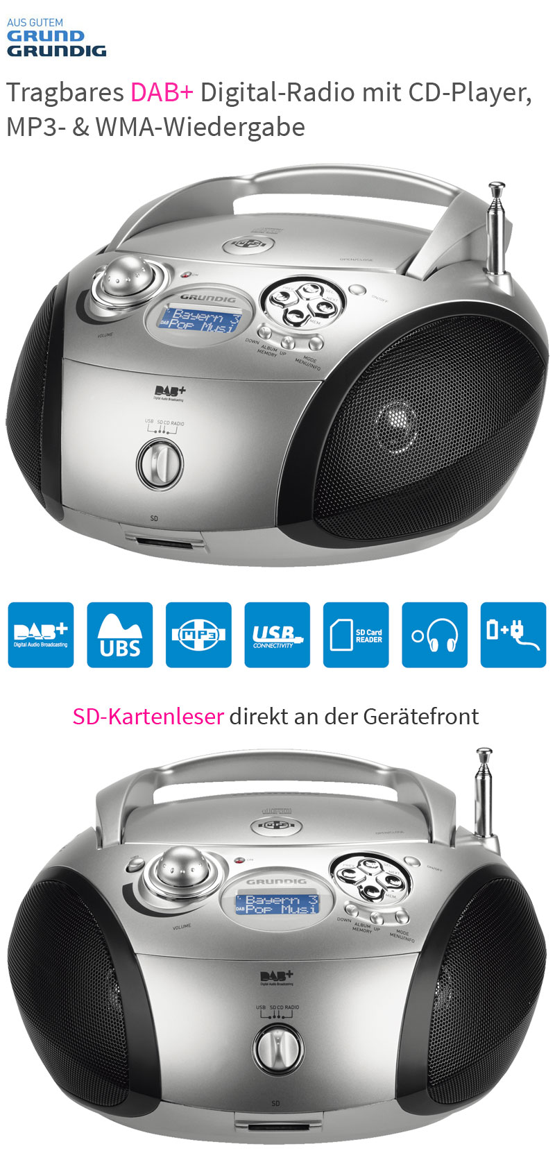grundig rcd 1460 dab digitalradio mit cd player cd radio tragbar usb2 0 mp3 wma ebay. Black Bedroom Furniture Sets. Home Design Ideas