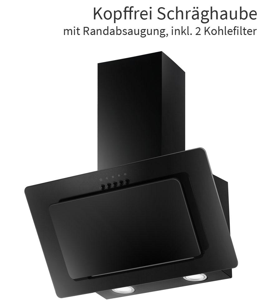 dunstabzugshaube 60 cm kopffrei schr g haube wandesse randabsaugung ab umluft ebay. Black Bedroom Furniture Sets. Home Design Ideas