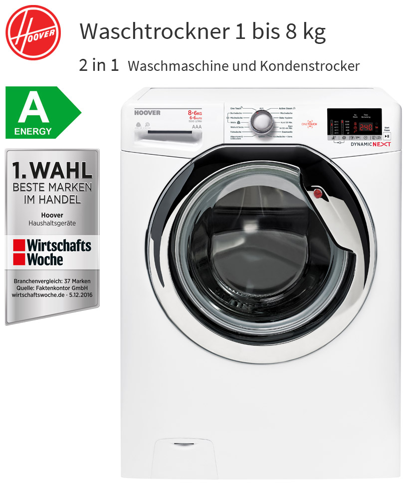 hoover 8 6 kg waschtrockner 2in1 8 kg waschmaschine 6 kg w schetrockner neu ebay. Black Bedroom Furniture Sets. Home Design Ideas