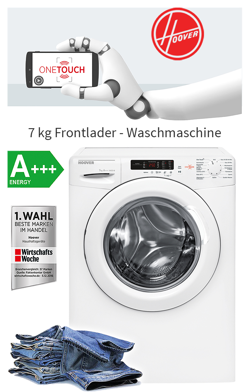 hoover a 7 kg eco waschmaschine frontlader upm display waschautomat nfc ebay. Black Bedroom Furniture Sets. Home Design Ideas