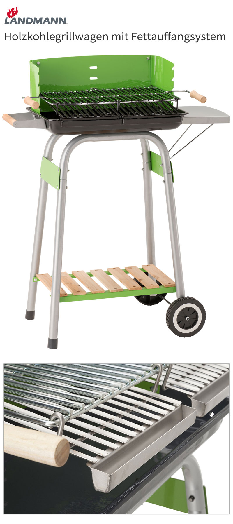 landmann holzkohlegrill mit fettauffangsystem grillwagen. Black Bedroom Furniture Sets. Home Design Ideas