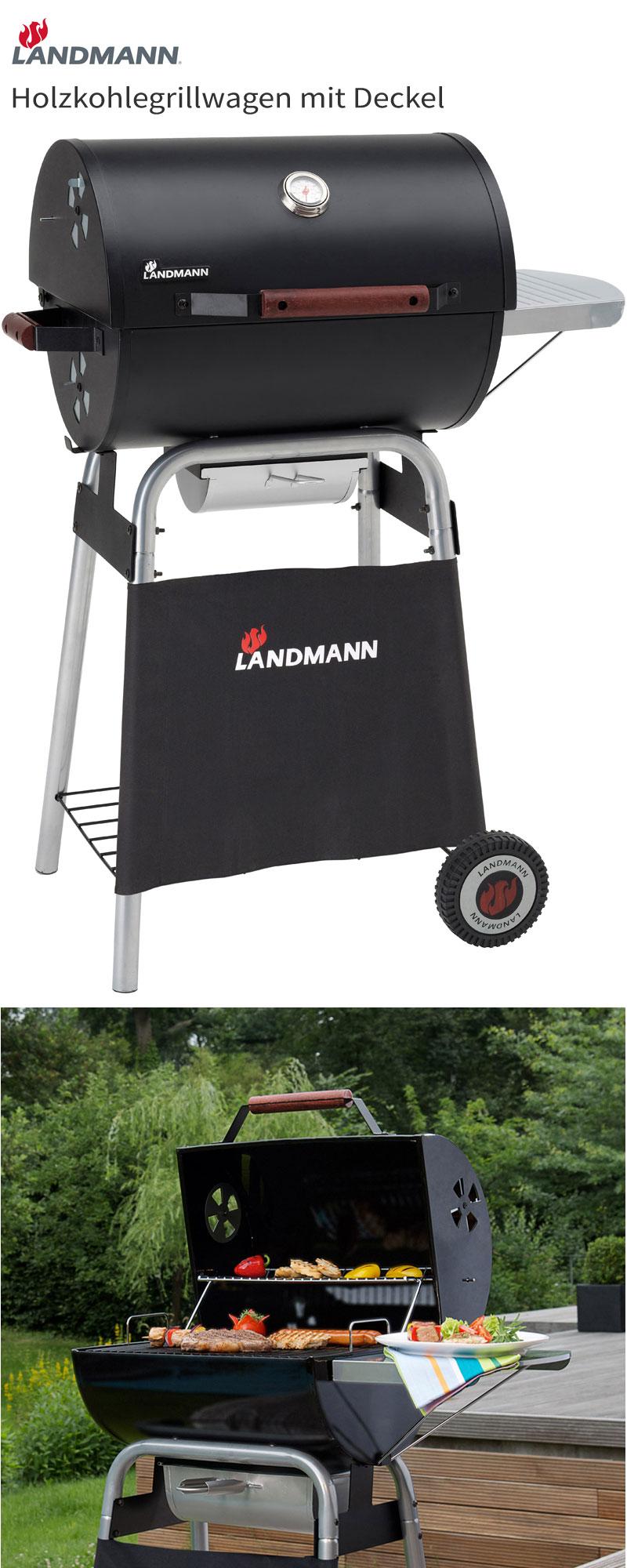 landmann holzkohle garten grill gusseisen roste grillwagen deckel warmhalterost ebay. Black Bedroom Furniture Sets. Home Design Ideas