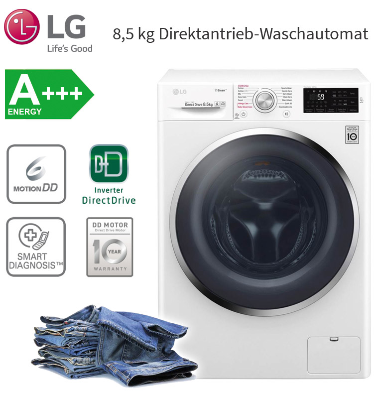 lg a 8 5 kg direktantrieb waschmaschine frontlader dampf funktion 1400 upm ebay. Black Bedroom Furniture Sets. Home Design Ideas