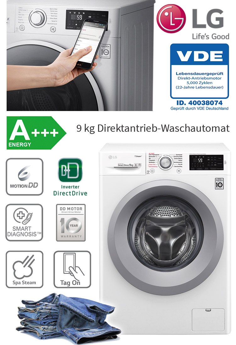 lg a 9 kg eco direktantrieb waschmaschine frontlader dampf funktion 1400 upm ebay. Black Bedroom Furniture Sets. Home Design Ideas