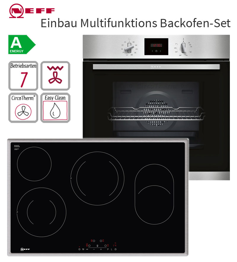 neff edelstahl easyclean einbau backofen autark set 80 cm elektro kochfeld touch ebay. Black Bedroom Furniture Sets. Home Design Ideas