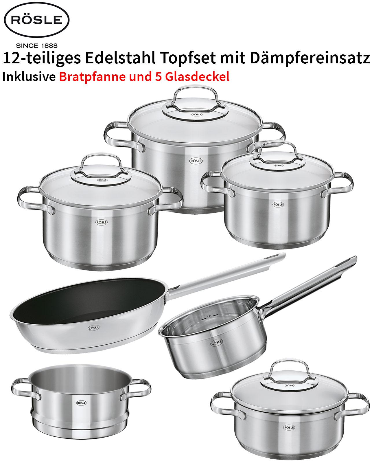 Rösle Edelstahl Induktion Topfset Pfanne Elegance 12tlg PFOA frei Dämpfeinsatz
